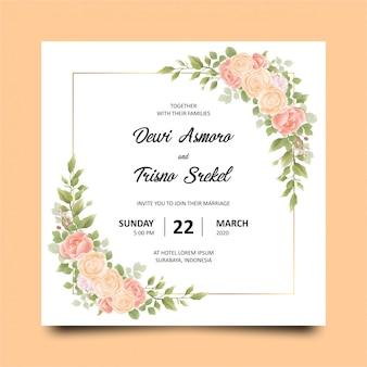 Modelo de cartão de convite com lindas flores
