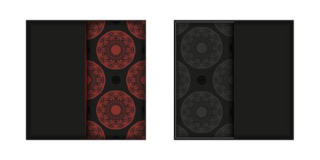 Modelo de cartão de convite com lugar para o seu texto e ornamentos vintage. design de cartão postal pronto para imprimir em preto e vermelho com padrões luxuosos.