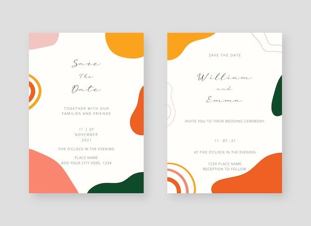 Modelo de cartão de convite. conjunto de modelo de cartão de convite de casamento
