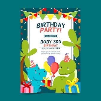 Modelo de cartão de convite de aniversário com ilustração de tema jurássico fofo