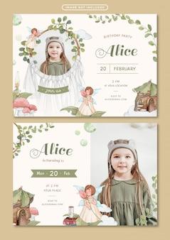 Modelo de cartão de convite de aniversário com ilustração em aquarela de tema de conto de fadas