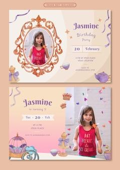 Modelo de cartão de convite de aniversário com ilustração em aquarela tema princesa
