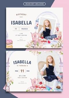 Modelo de cartão de convite de aniversário com tema de doces e confeitaria