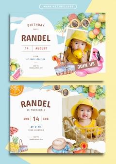 Modelo de cartão de convite de aniversário com tema de verão