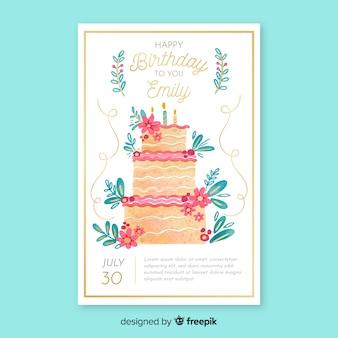 Modelo de cartão de convite de aniversário em aquarela