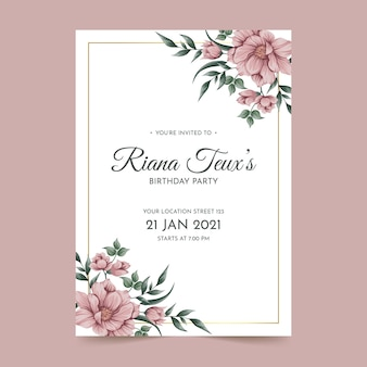 Modelo de cartão de convite de aniversário floral