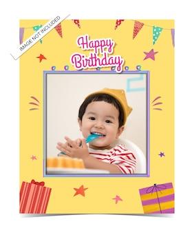 Modelo de cartão de convite de aniversário infantil em aquarela
