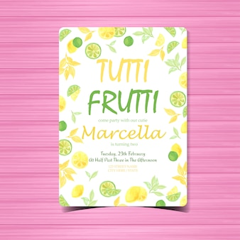 Modelo de cartão de convite de aniversário tutti frutti aquarela