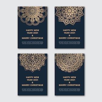Modelo de cartão de convite de bela mandala. feliz ano novo 2021 e feliz natal