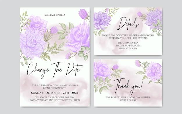 Modelo de cartão de convite de casamento adiado com conjunto de coleção de quadro de flores em aquarela
