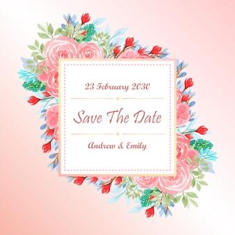 Modelo de cartão de convite de casamento aquarela com flores cor de rosa