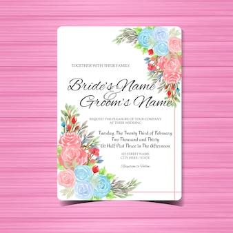 Modelo de cartão de convite de casamento aquarela com rosas coloridas