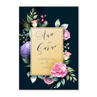 Modelo de cartão de convite de casamento, aquarela floral frame