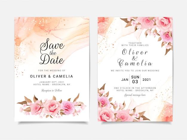 Modelo de cartão de convite de casamento artístico conjunto com decorações de flores