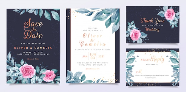 Modelo de cartão de convite de casamento azul com decoração de flores e folhas azuis