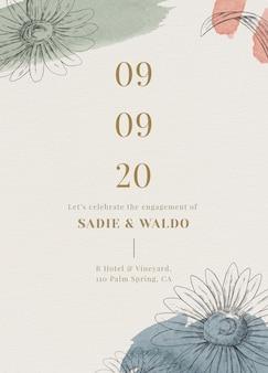 Modelo de cartão de convite de casamento bege