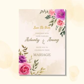 Modelo de cartão de convite de casamento beleza com estilo vintage aquarela