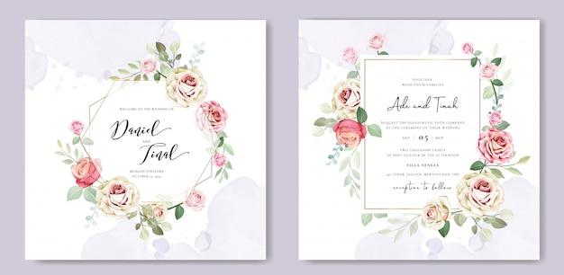 Modelo de cartão de convite de casamento bonito com flores e folhas