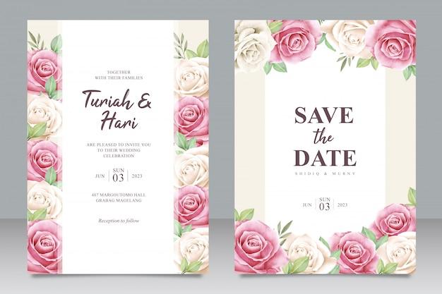 Modelo de cartão de convite de casamento bonito com multiuso de moldura floral