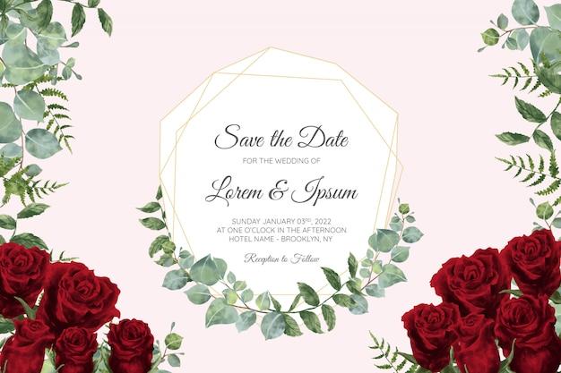 Modelo de cartão de convite de casamento bonito conjunto com moldura floral geométrica