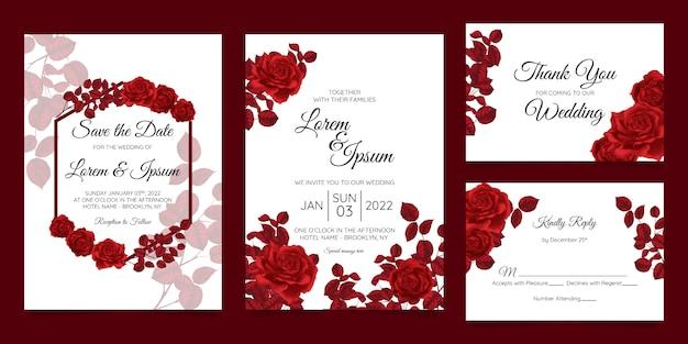 Modelo de cartão de convite de casamento bonito conjunto com moldura floral