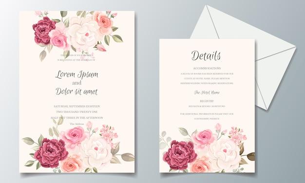 Modelo de cartão de convite de casamento bonito e elegante conjunto com moldura floral