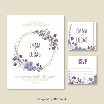 Modelo de cartão de convite de casamento bonito