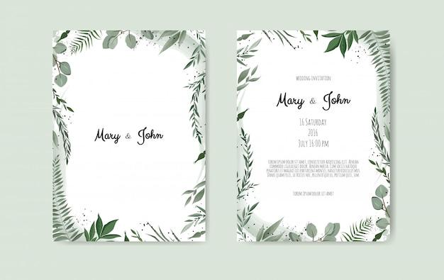 Modelo de cartão de convite de casamento botânica