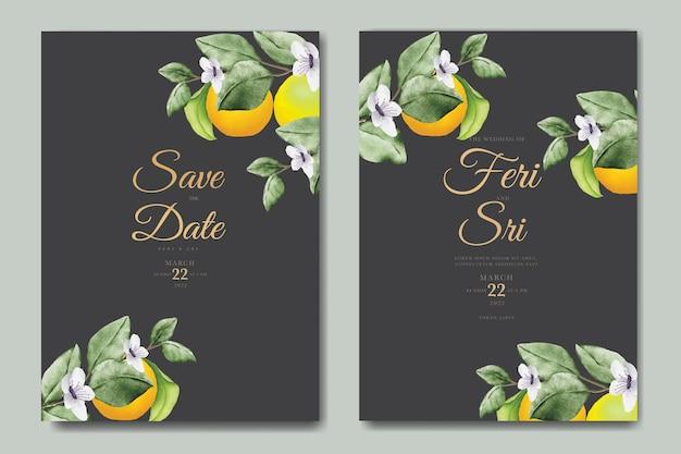 Modelo de cartão de convite de casamento botânico aquarela frutas laranja