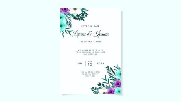 Modelo de cartão de convite de casamento botânico com folhas de flores silvestres conceito floral de ornamento de primavera