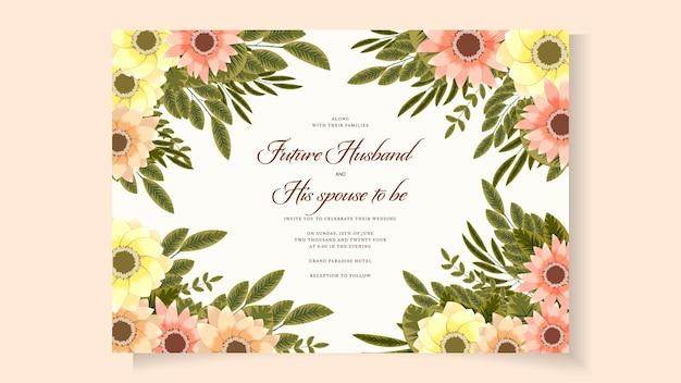 Modelo de cartão de convite de casamento botânico com folhas de flores silvestres.