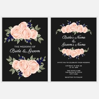 Modelo de cartão de convite de casamento buquê de flores rosa