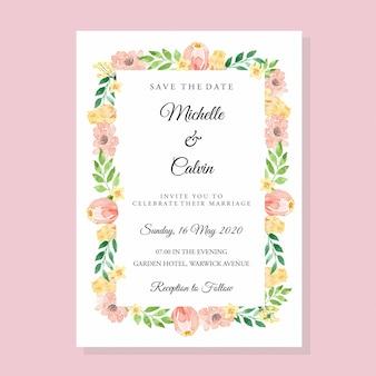 Modelo de cartão de convite de casamento clássico floral pêssego em aquarela e amarelo