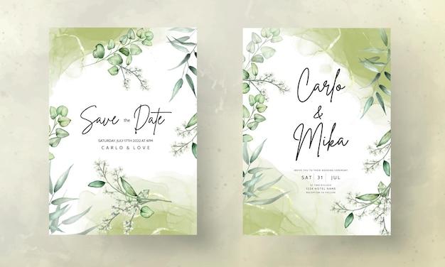 Modelo de cartão de convite de casamento com aquarela de folhas de eucalipto