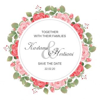 Modelo de cartão de convite de casamento com aquarela estilo rosa