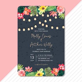 Modelo de cartão de convite de casamento com aquarela floral de verão tropical