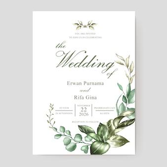 Modelo de cartão de convite de casamento com aquarela floral e folhas