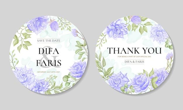 Modelo de cartão de convite de casamento com aquarela ornamento floral