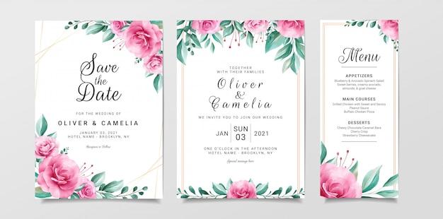 Modelo de cartão de convite de casamento com borda floral em aquarela de flores