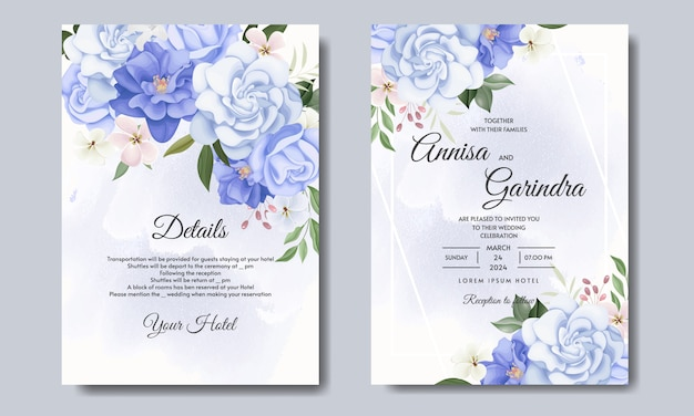 Modelo de cartão de convite de casamento com conceito de buquê floral vetor premium