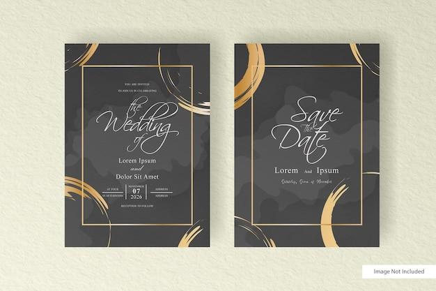 Modelo de cartão de convite de casamento com conjunto de resumo pintado à mão