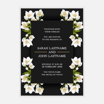 Modelo de cartão de convite de casamento com decoração de flores de jasmim