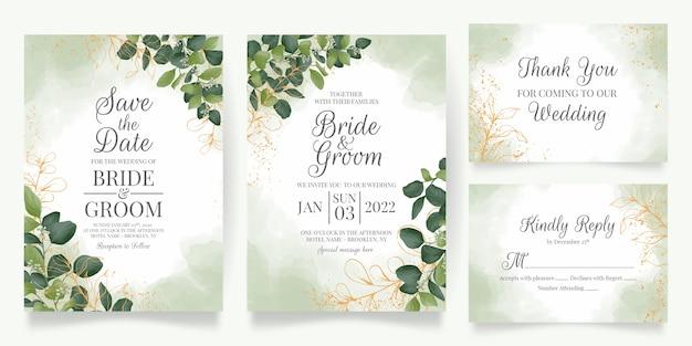 Modelo de cartão de convite de casamento com decoração de folhas em aquarela