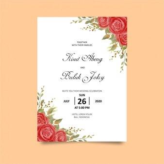 Modelo de cartão de convite de casamento com decoração de rosa vermelha estilo aquarela