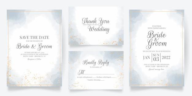 Modelo de cartão de convite de casamento com decoração em aquarela
