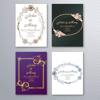 Modelo de cartão de convite de casamento com design de coleção de brochura floral decorativo