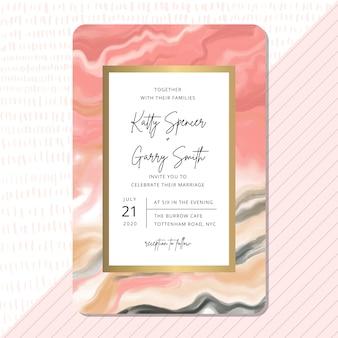 Modelo de cartão de convite de casamento com design de mármore rosa