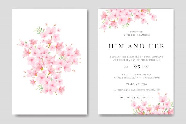 Modelo de cartão de convite de casamento com design floral cherry blossom