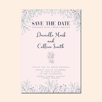 Modelo de cartão de convite de casamento com design floral