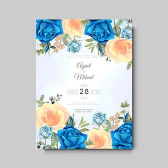 Modelo de cartão de convite de casamento com elegantes flores e folhas